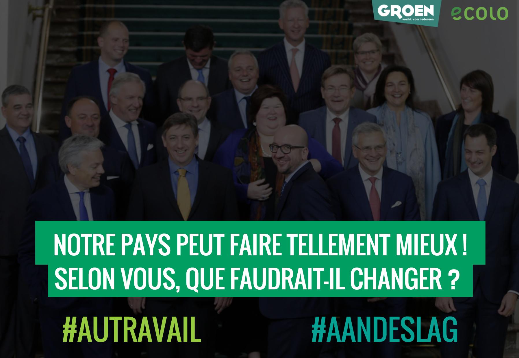 Ecolo-Groen lance 10 défis au gouvernement Michel